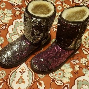 Sequin purple & Silver UGGS Price Firm